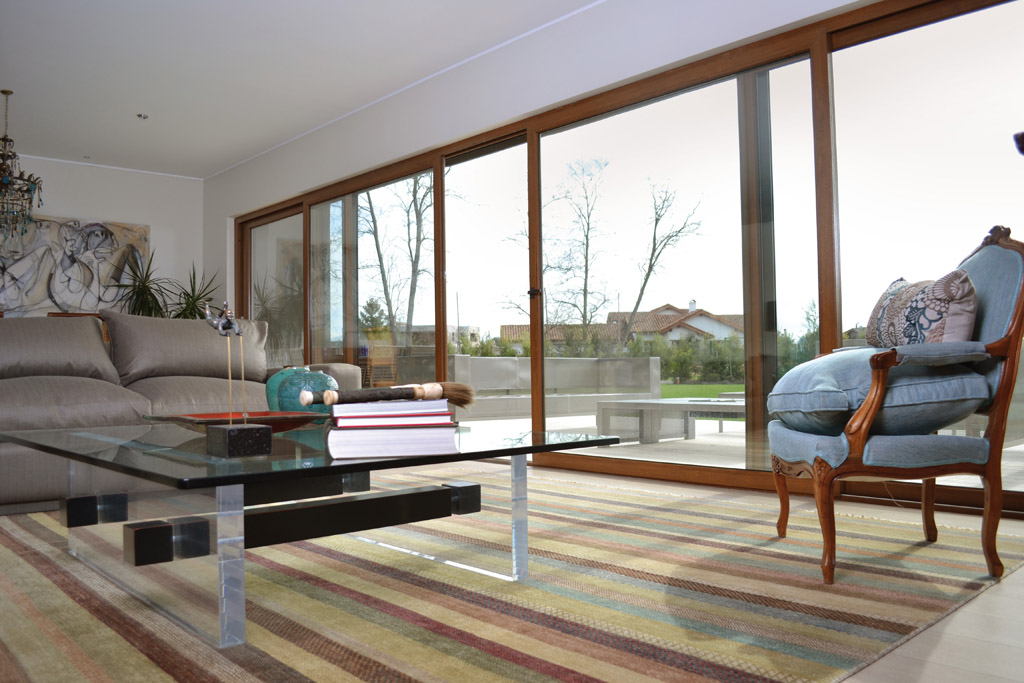 Golden oak sliding door