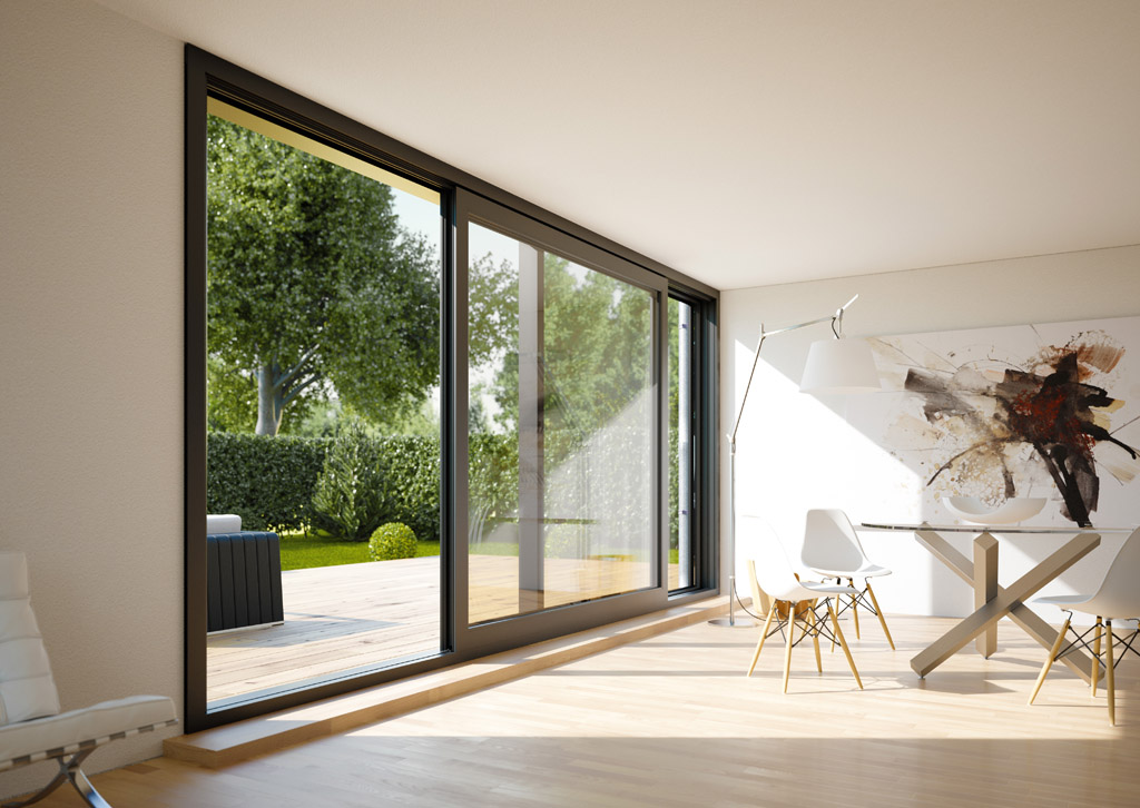 Grey sliding door